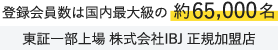 登録会員数は国内最大級の約65,000名。東証一部上場 株式会社IBJ 正規加盟店